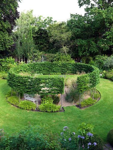 A round gravel garden cut out of a sunny lawn, encircled by a pleached hornbeam hedge. Summer - © Nicola Stocken/GAP Photos