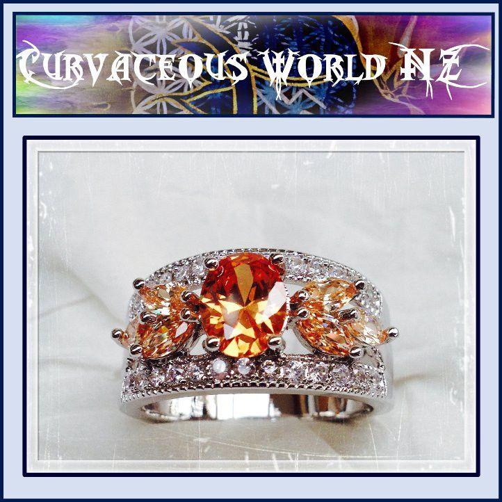 Cubic Zircon Morganite Flower petal Size 12(Y) Fashion ring