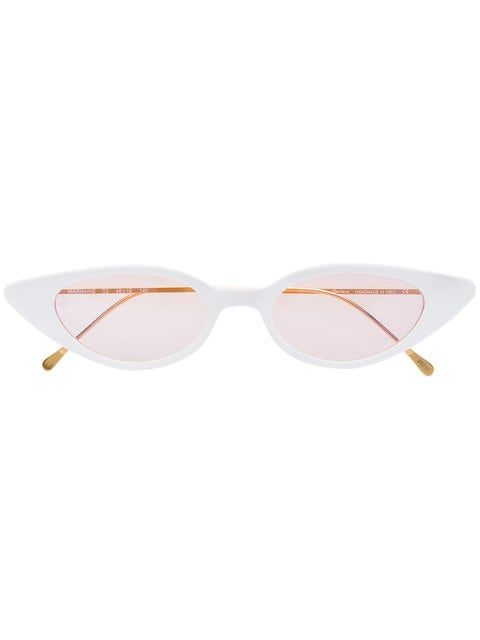 171d5ba88d51b Illesteva White Marianne Cat Eye Acetate Sunglasses - Farfetch ...