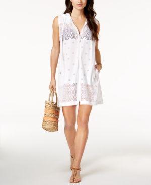 Dotti Free Spirit Crochet Zip Hoodie Cover-Up - White XL