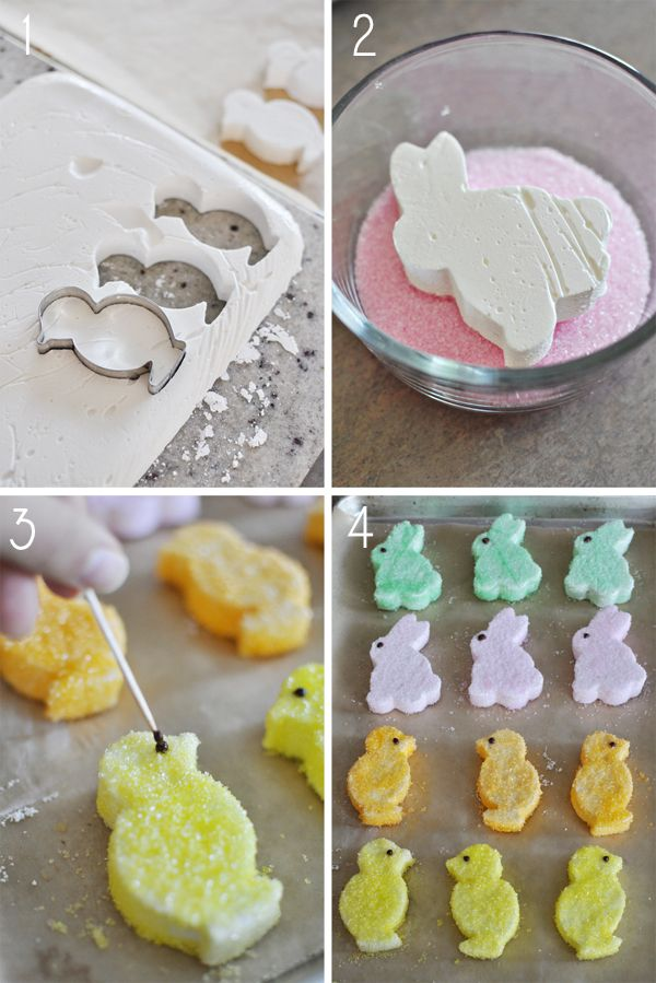 Homemade Marshmallow Peeps- perfect for your little ones Easter Basket.