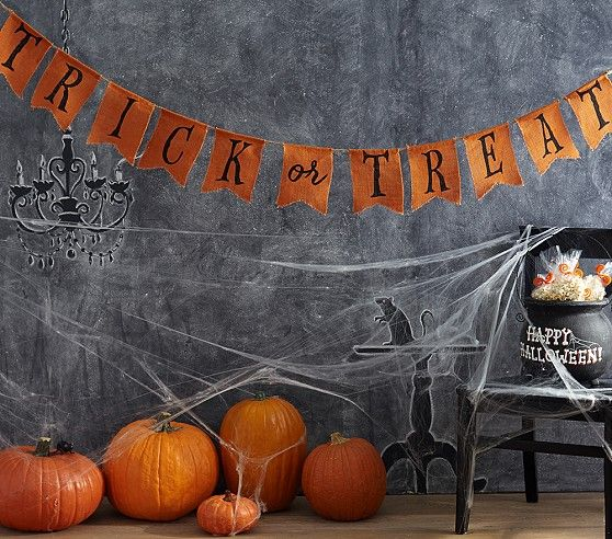 Trick Or Treat Burlap Banner | Pottery Barn Kids