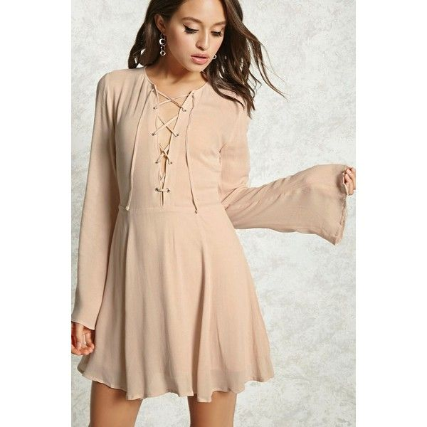 Forever21 Lace-Up Mini Dress ($10) ❤ liked on Polyvore featuring dresses, blush, long-sleeve mini dress, bell sleeve dress, short dresses, bell sleeve mini dress and beige short dress