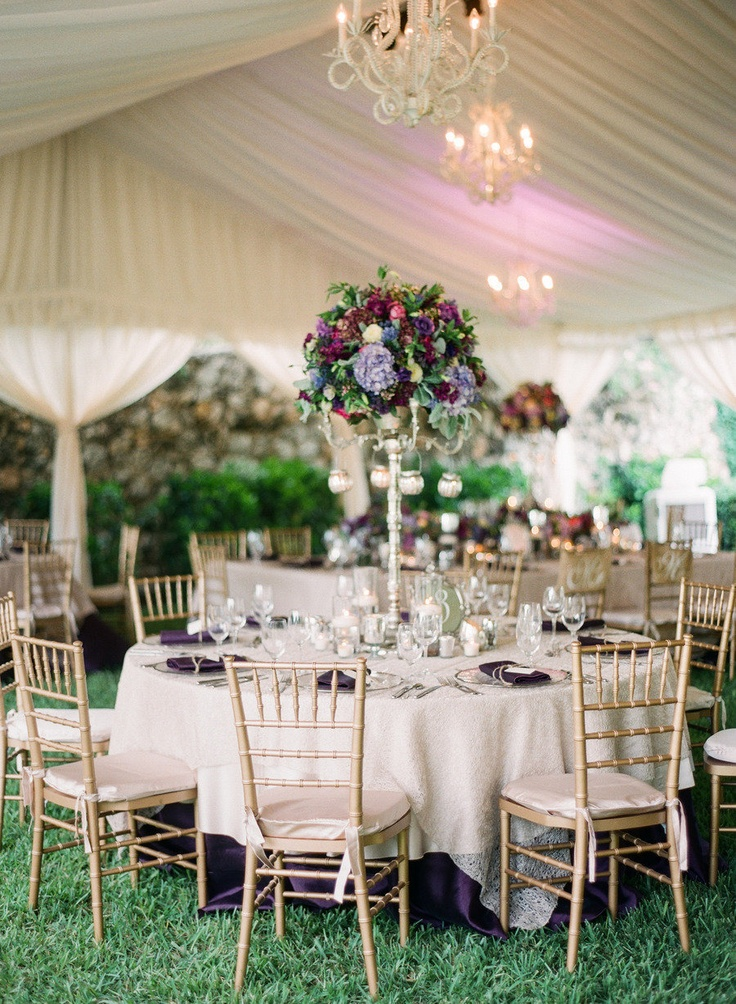 tented reception. chiavari chairs and centerpieces