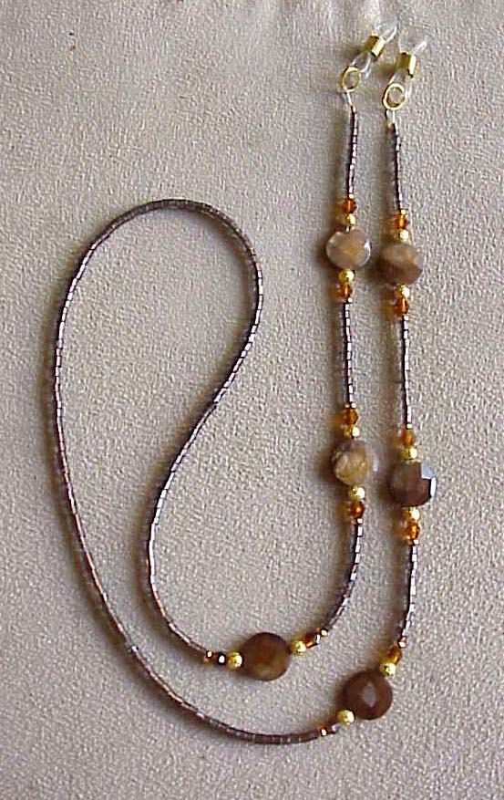 Shimmering Brown Crystal Eyeglass Chain Holder by spec2d on Etsy, $12.99