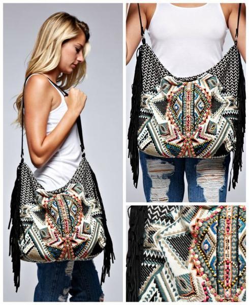 Artisan Boho Bohemian Tapestry Bead Oversized Handbag