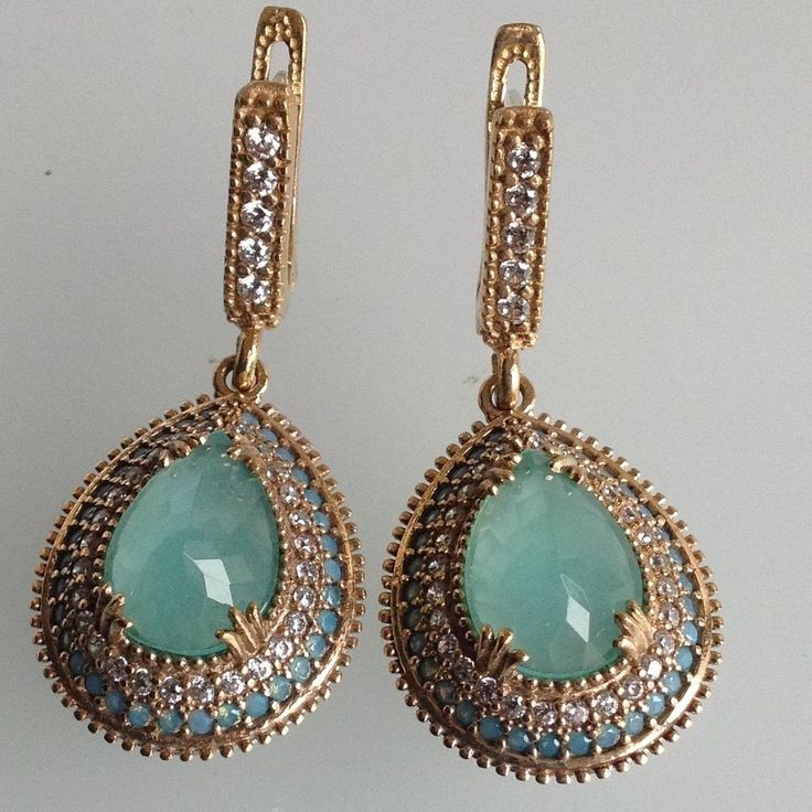925 Sterling Silver Turkish Jewelry  Aquamarine Topaz EarRings #Handmade #DropDangle