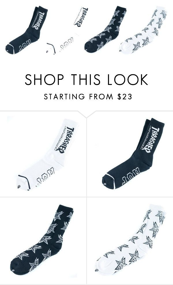 The New HUF x Thrasher socks are just £14.95. by blacksheepstore on Polyvore
