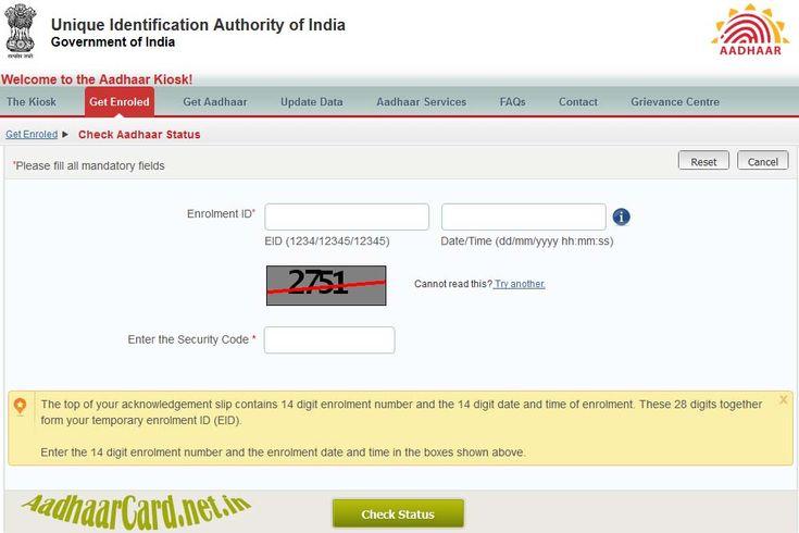 Get Aadhaar Status Https Aadhaarcard Net In How To Check Aadhaar