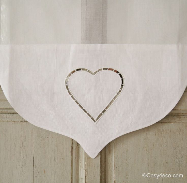 Rideau d cor coeur brise vue largeur au choix decor for Cantonniere shabby chic