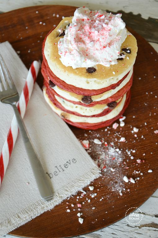 Candy Cane Pancakes {Peppermint Pancakes} Recipe