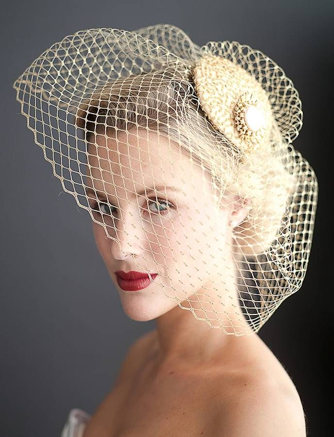 Vintage Birdcage Veil by NATASCIA FILEPPI MILLINERY A totally chic piece that makes you feel utterly glamorous! Particularly suits short or full skirt 50's style dresses! This birdcage can be worn all day from the ceremony through to the evening reception. ...