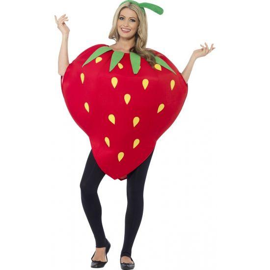 Aardbeien pak voor volwassenen. One size aardbei kostuum voor dames en heren inclusief aardbei hoedje.
