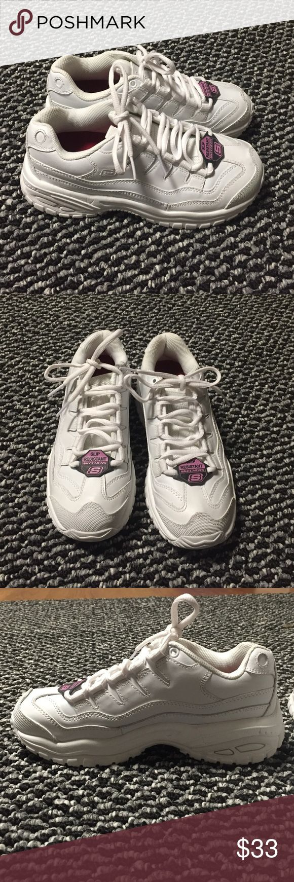 White Skechers non slip white work shoes Size 6.5 Skechers white no slip work shoes. Never worn, only tried on. Still has original slip resistant tag on each shoe. Great for Hooter's girls or being one for Halloween. Skechers Shoes Sneakers