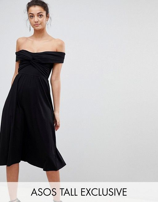 ASOS TALL Midi Skater Dress with Bardot Neckline and Knot Front Detail