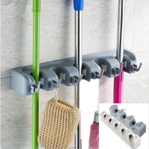 Details About Kitchen Mop Broom Holder Wall Mounted