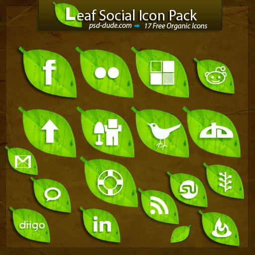 Free Leaf Social Icon Pack by PsdDude.deviantart.com on @DeviantArt