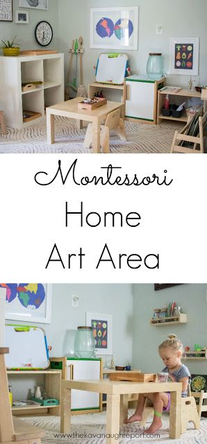 Montessori home art area. Ideas and inspiration for incorporating art into your home.