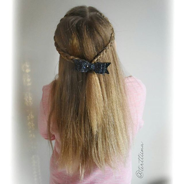 Heart shaped dutch braids with bow!