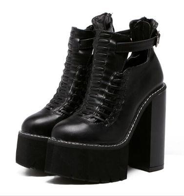Femmes d'hiver chaussures bottes courtes automne chaussures blanc dames bottes haute talons chaussures cheville plate-forme bottes pour femmes punk bottes D753