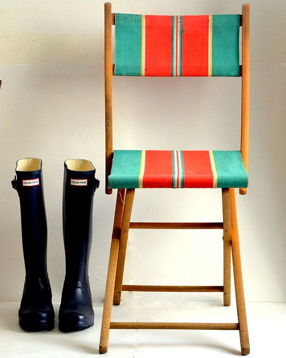 Folding garden chair camping, fishing French vintage 1940. In France we love…