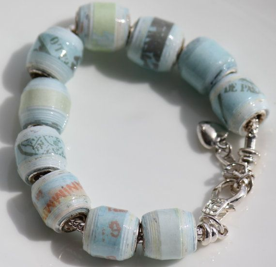 PAPER BEAD BRACELET: Wanderlust - Travel Bracelet Each bracelet has an end clasp that is removable. Then purchase a variety of beads and change