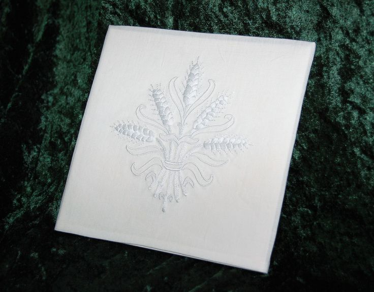 """Communion chalice pall with hand embroidered wheat motif; 2 strands of DMC B5200 using satin stitch, split stitch, back stitch, and corded satin stitch; 100% linen; 7"""" x 7"""" finished size; matboard insert; 9.4.17"""