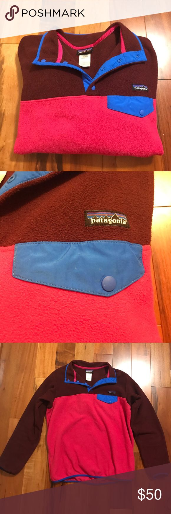 Pink and burgundy Large Patagonia Pullover Super soft and cozy Patagonia pullover. Very light wear. Patagonia Jackets & Coats