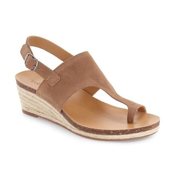 """Lucky Brand 'Janessa' Espadrille Wedge Sandal, 2 1/4"""" heel found on Polyvore featuring women's fashion, shoes, sandals, sesame leather, platform sandals, wedge sandals, low wedge sandals, leather strappy sandals and leather platform sandals"""