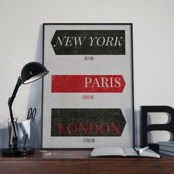 New York City Print Paris Art London Typography by VibrantImaging