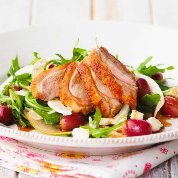 Recipe for Warm Alfresco Duck Salad with pear, red grapes and fetta