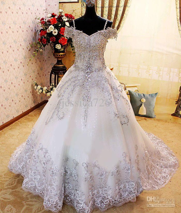 Luxury Crystal Ball Gown Wedding Dress Off The Shoulder Applique ...