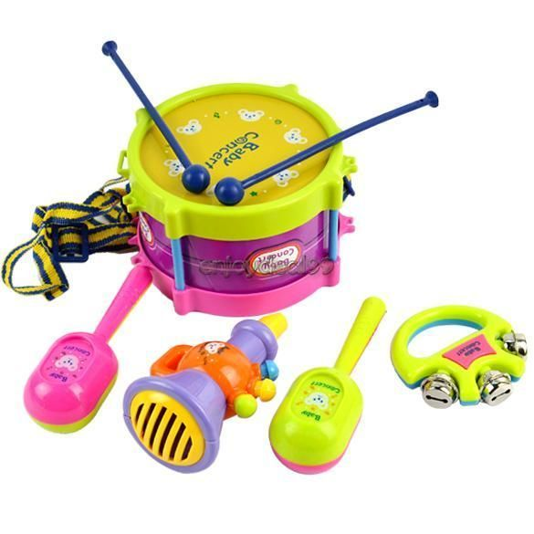 5pcs Roll Drum Instruments Musical Band Kit Kids Toy Children Gift Set New OO55 **************************************** סט של 5 כלי נגינה לתינוק ב כ 21 שקל כולל משלוח חינם
