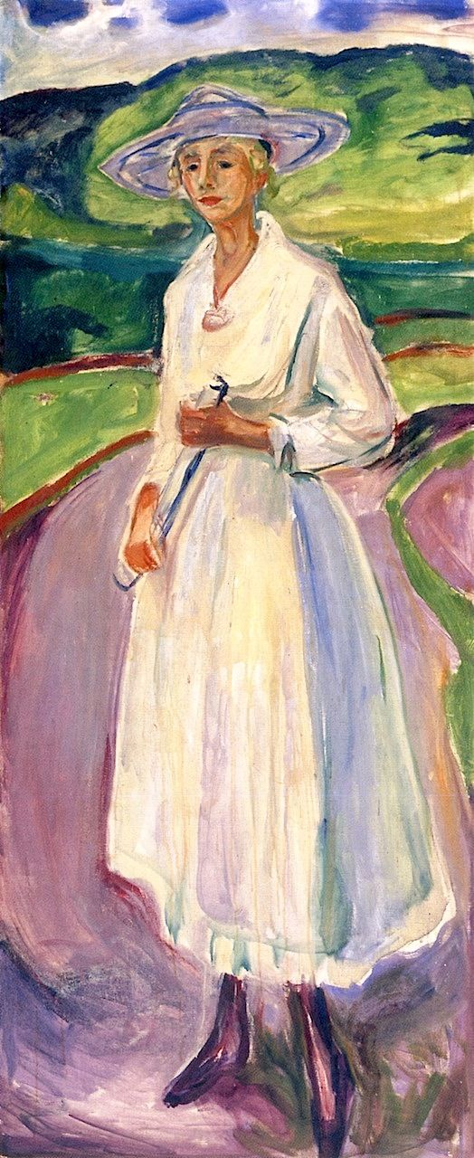 ▴ Artistic Accessories ▴ clothes, jewelry, hats in art - Edvard Munch | Woman in a White Dress, 1917