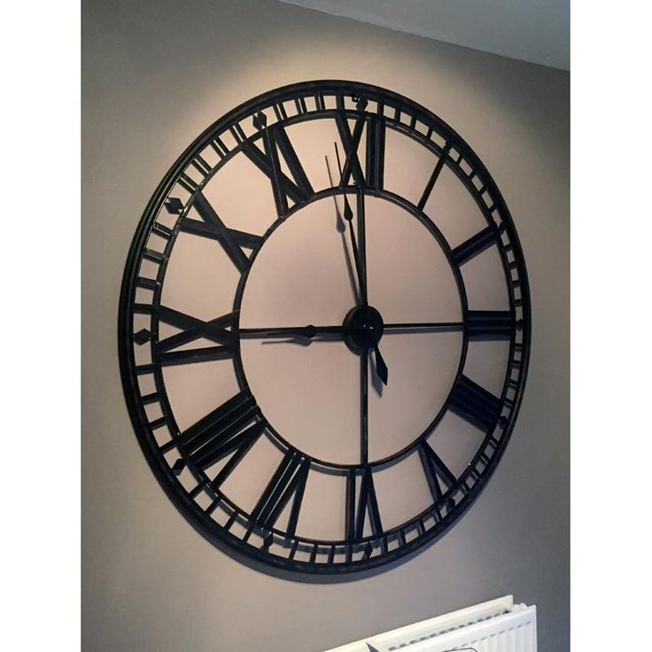Large Black Circular Skeleton Clock [EXI2278] : Beau Decor
