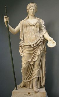Hera - Greek goddess of marriage, life and love.  The most beautiful goddess. Sister and wife of Zeus.  The queen of all the Greek gods and goddesses.  This statue of Hera is found at the Vatican.
