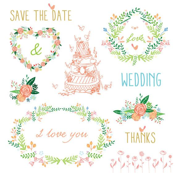 Floral Clipart Floral wreaths wedding cake by TheCutePaperStudio