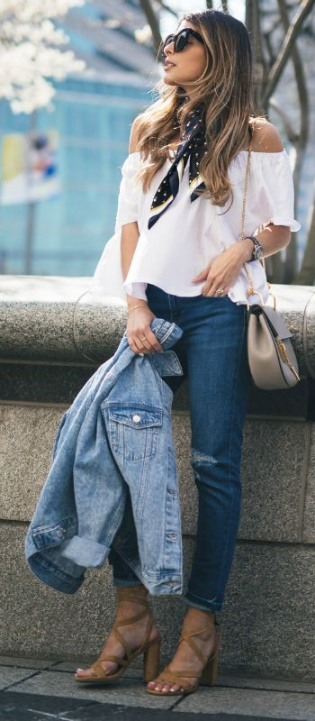 Off the shoulder tops + simple white number + cute neck scarf + awesome spring style + Pam Hetlinger.  Top: Mango, Jeans: Topshop, Shoes: Nordstrom.