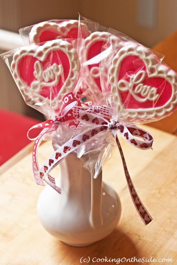 Valentine's Day Chocolate Lollipops -- use this easy technique with any candy mold for a special sweet treat