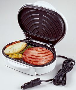 The ultimate camping accessory - make meals quickly and easily no matter where you are! Floating hinge accommodates foods of all sizes Non-stick surfaces for easy cleaning Dual grilling panels for fas
