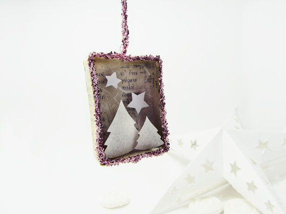 Handmade shadow box ornament The Christmas matchbox by ILaBoom, $12.00