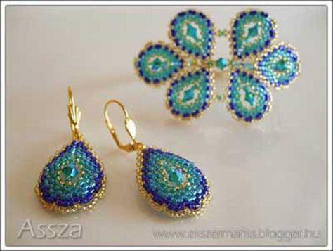 Павлин цвета браслет и серьги Swarovski kristályokkal
