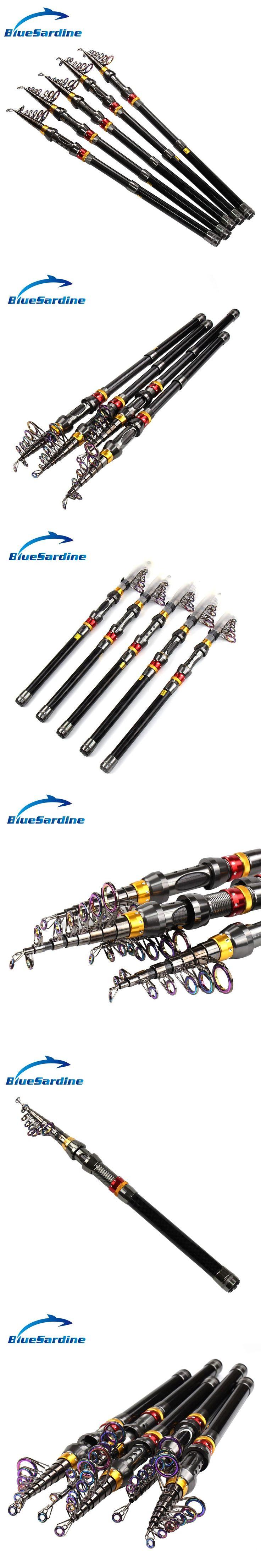 BlueSardine Telescopic Fishing Rod Carbon Fiber Spinning Rod Sea Fishing Pole Pesca Peche 1.8M - 3.6M #fishingrod