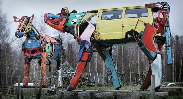 Helsinki-based sculptor Miina Äkkijyrkkä specializes in building giant cows out of old car parts. Playgrounds made from junk - PGP