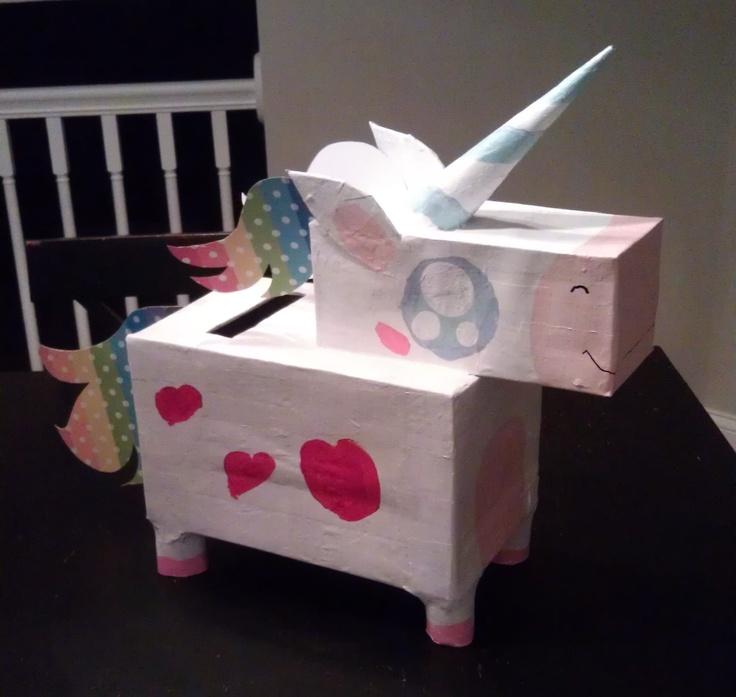 paper mache unicorn valentines day box saltine box for the head two toilet paper