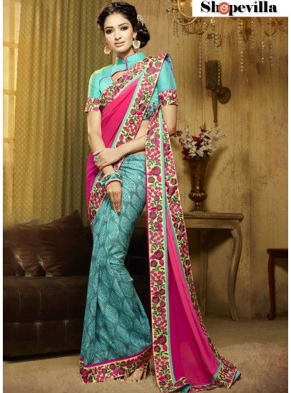 Mesmeric Hot Pink Resham Work Designer Saree-303