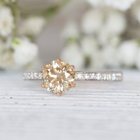 Women's 1 carat Round Brilliant Champagne Diamond on 18k White & Rose Gold Engagement Solitaire Ring