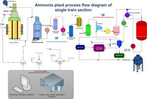 Ammonia plant process flow diagram of single train section ...