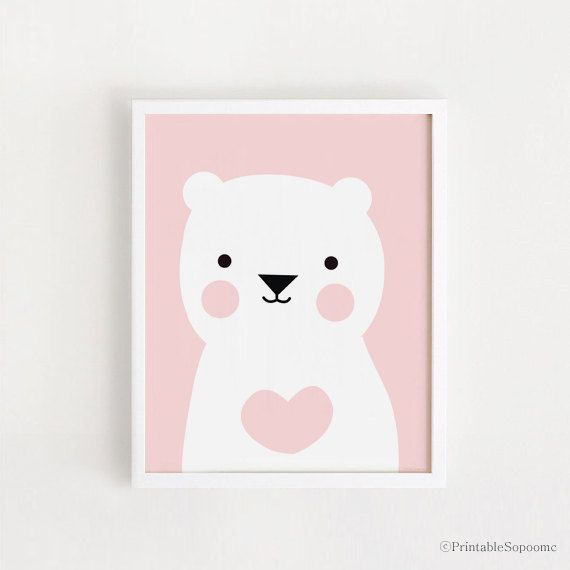 INSTANT DOWNLOAD Cute pink heart bear Children by PrintableSopoomc