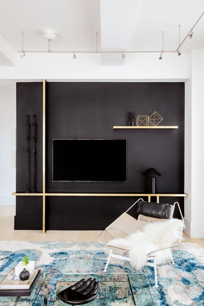 Monochromatic Color Scheme Home Inspiration Nyc Loft Tv Wall Design Black Accent Walls Tv Feature Wall